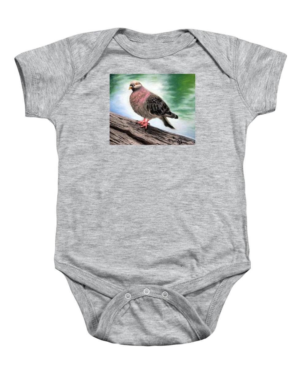 Pigeon Baby Onesie featuring the painting Pigeon Toes by Minaz Jantz