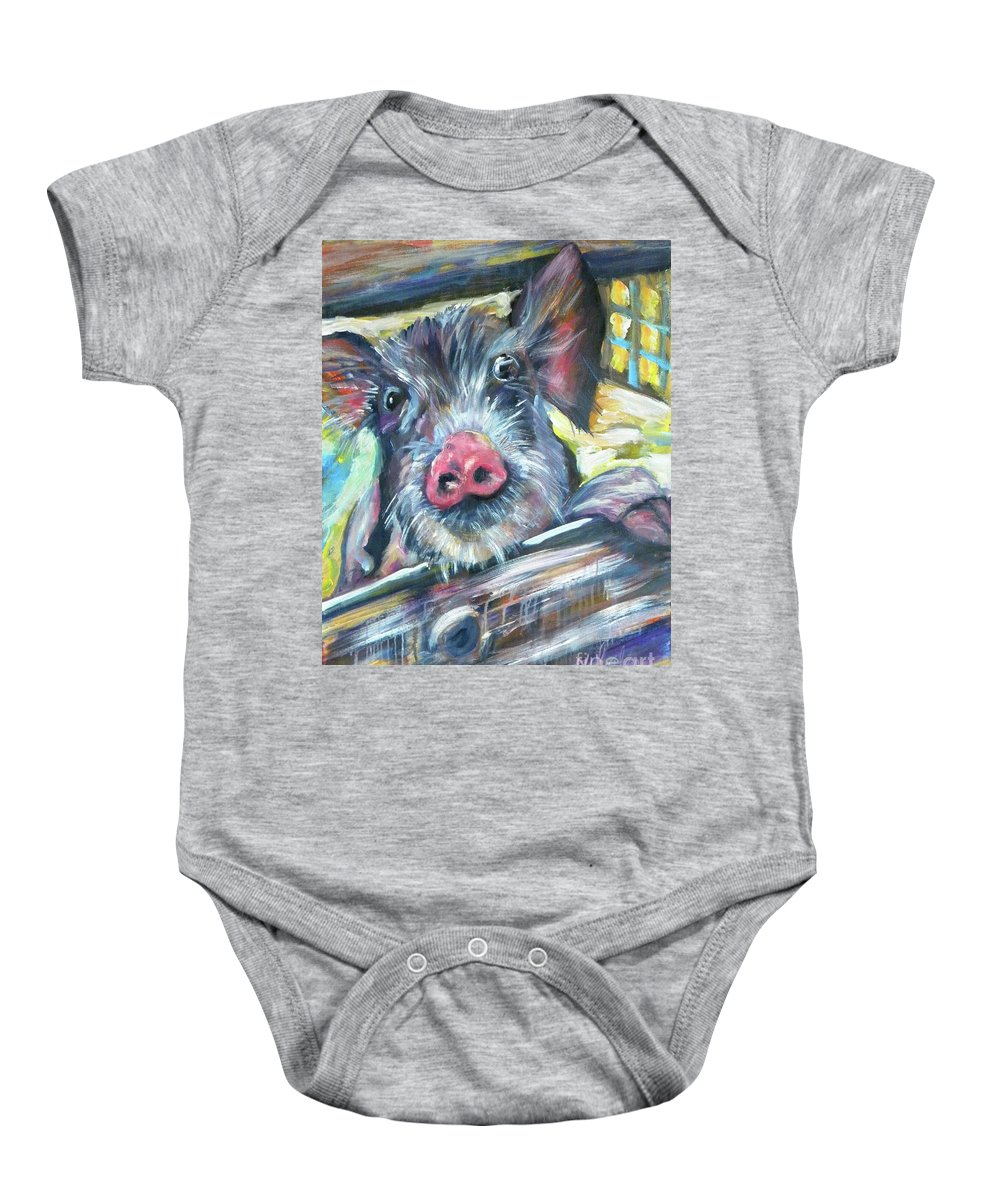 Pig Baby Onesie featuring the painting Piggy by JoAnn Wheeler