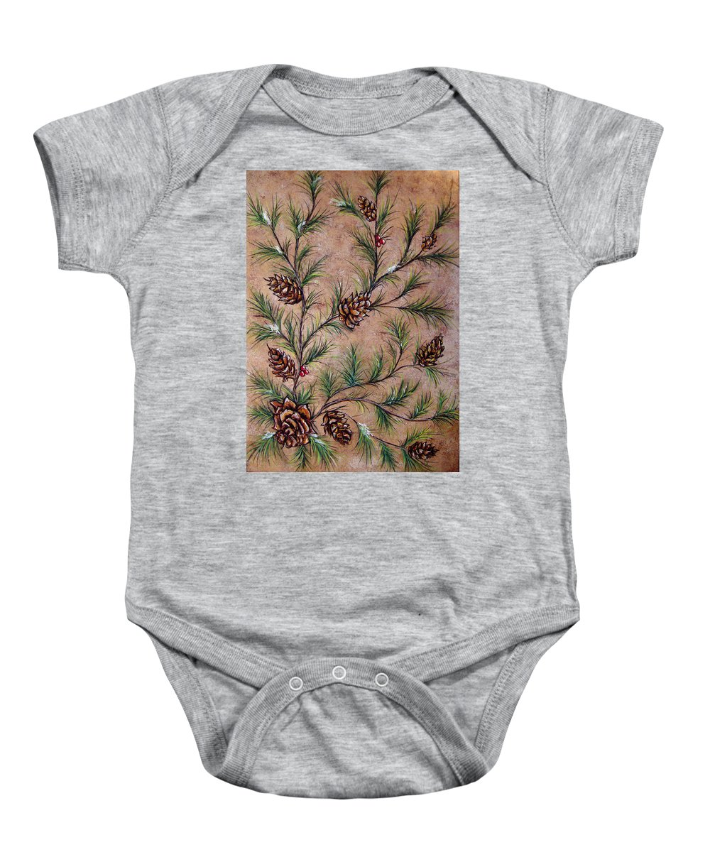 Acrylic Baby Onesie featuring the painting Pine Cones And Spruce Branches by Nancy Mueller