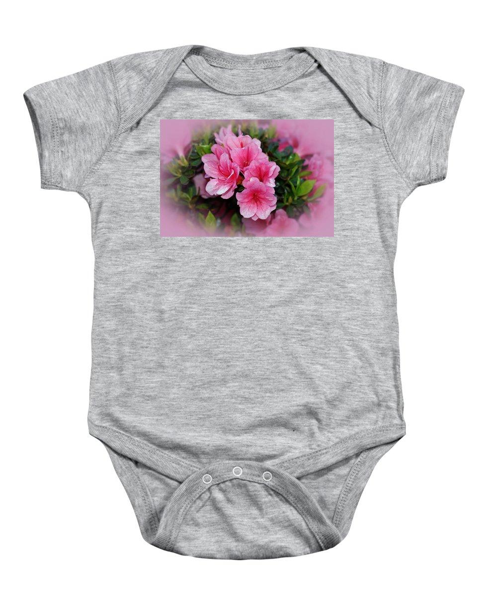 Azaleas Baby Onesie featuring the photograph Pink Azaleas by Sandy Keeton