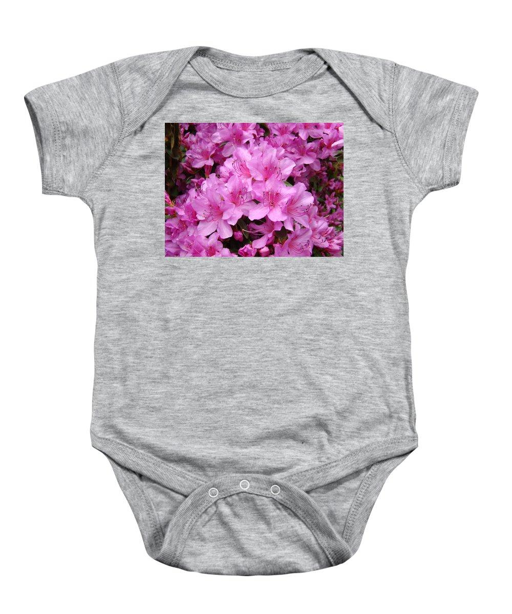 �azaleas Artwork� Baby Onesie featuring the photograph Pink Azaleas Summer Garden 6 Azalea Flowers Giclee Art Prints Baslee Troutman by Baslee Troutman