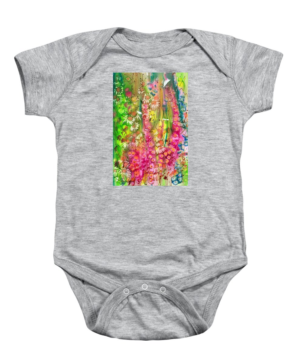 Spray Baby Onesie featuring the painting Pink Cascade by Shirley Sykes Bracken