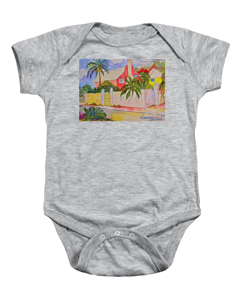 Island House Baby Onesie featuring the painting Pink House by Donna Steward