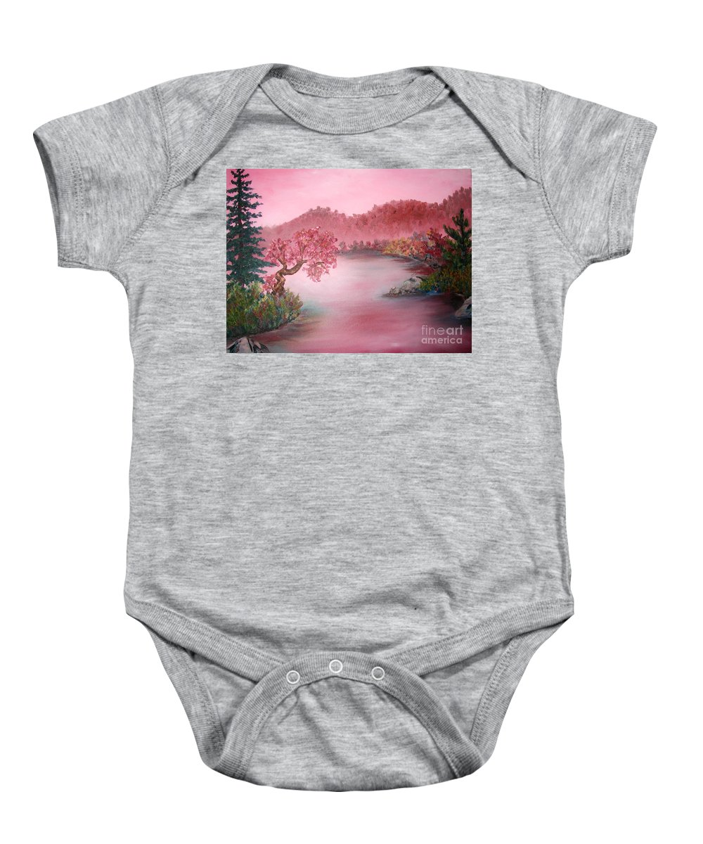 Lake Baby Onesie featuring the painting Pink Lake by Emily Michaud