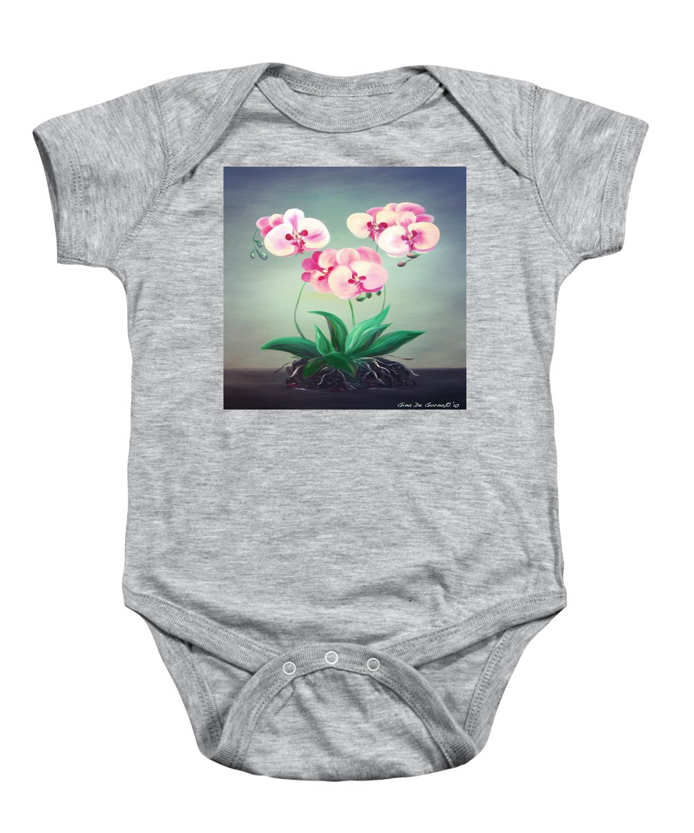 Original Baby Onesie featuring the painting Pink Orchids 2 by Gina De Gorna