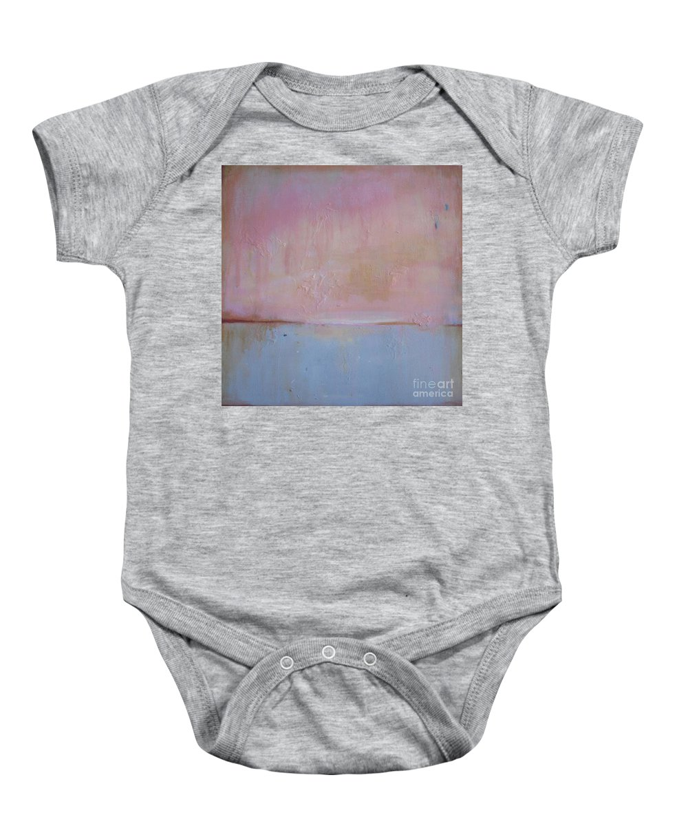 Abstract Baby Onesie featuring the painting Pink Pcean Down by Vesna Antic
