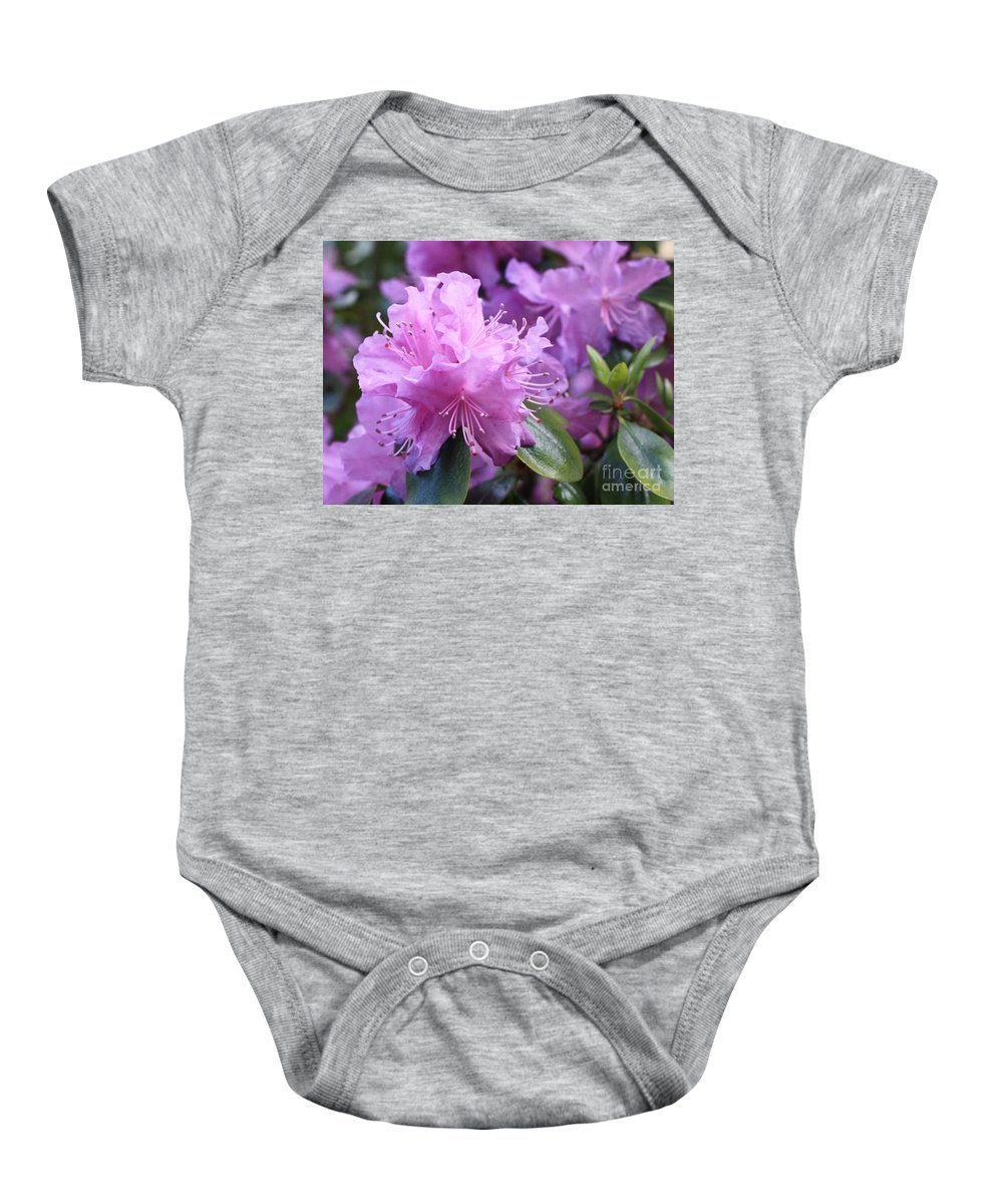 Flower Baby Onesie featuring the photograph Light Purple Rhododendron With Leaves by Carol Groenen