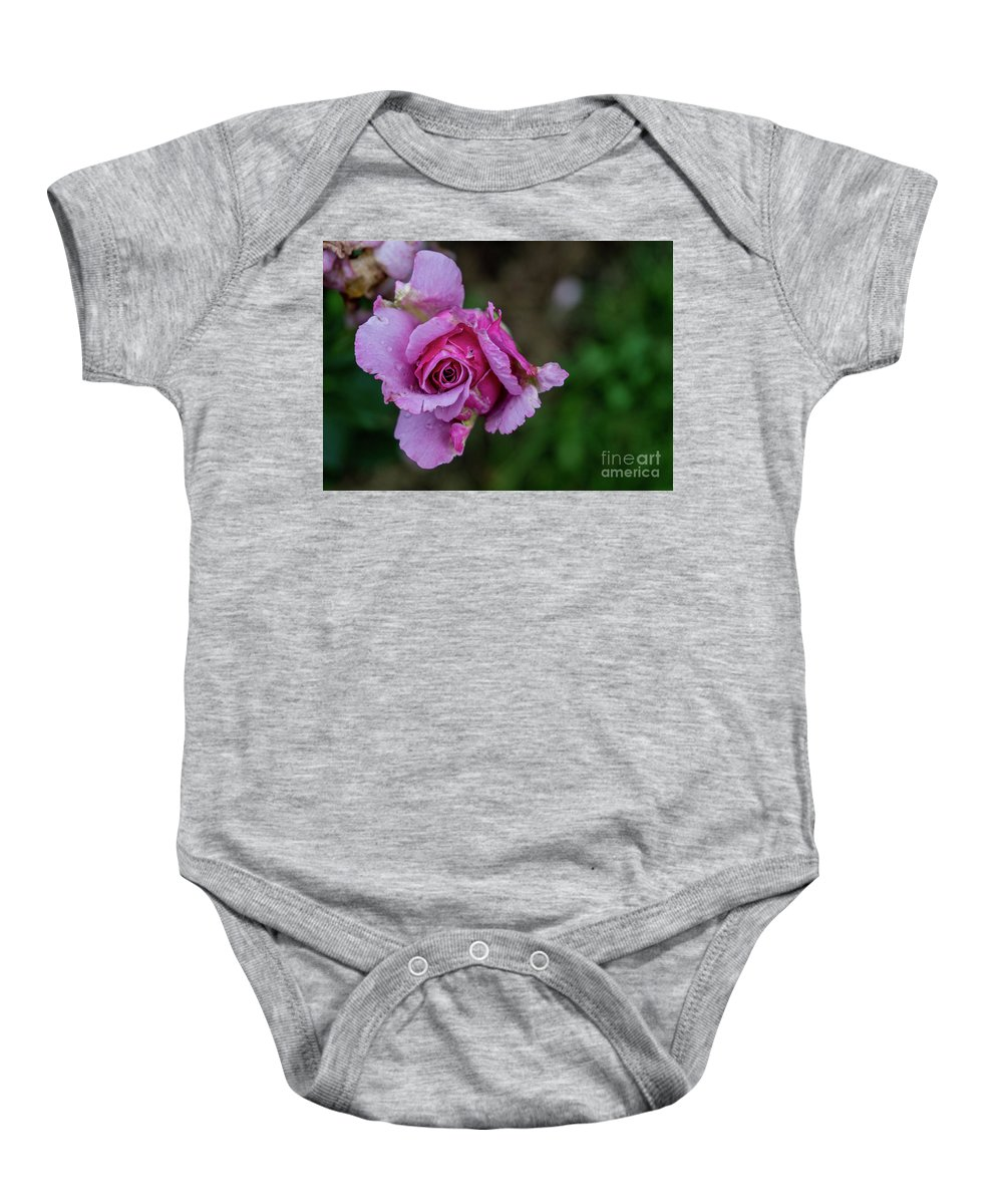 Summer Baby Onesie featuring the photograph Pink Rose by Annerose Walz