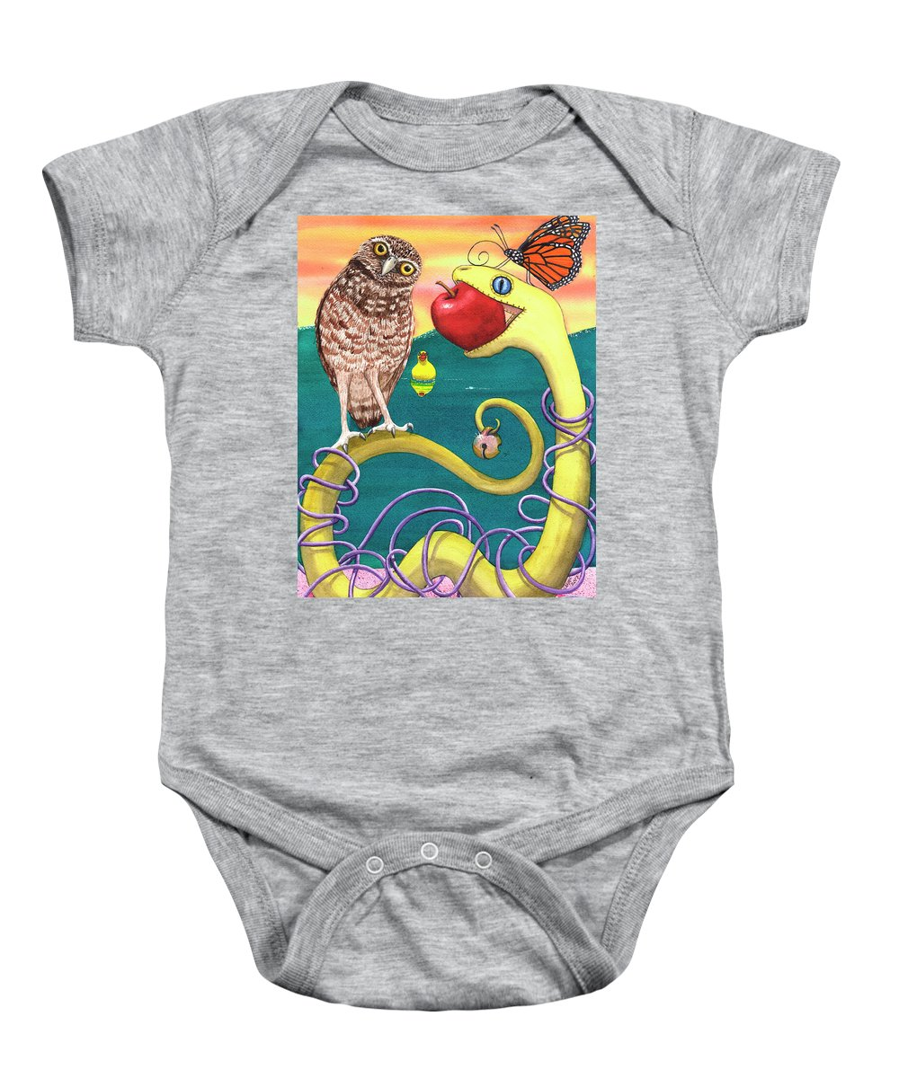 Snake Baby Onesie featuring the painting Pink Sand by Catherine G McElroy