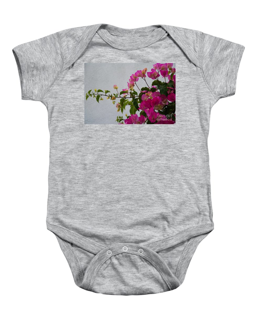Bougainvillea Baby Onesie featuring the photograph Pinks Portrait by Linda Shafer