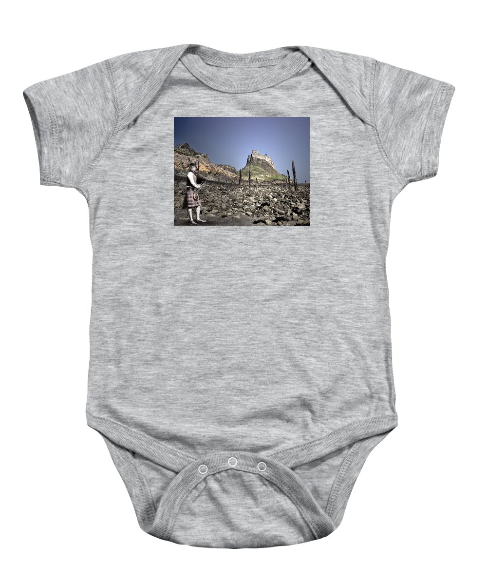 Baby Onesie featuring the digital art Piper Plays To The Past by Vicki Lea Eggen