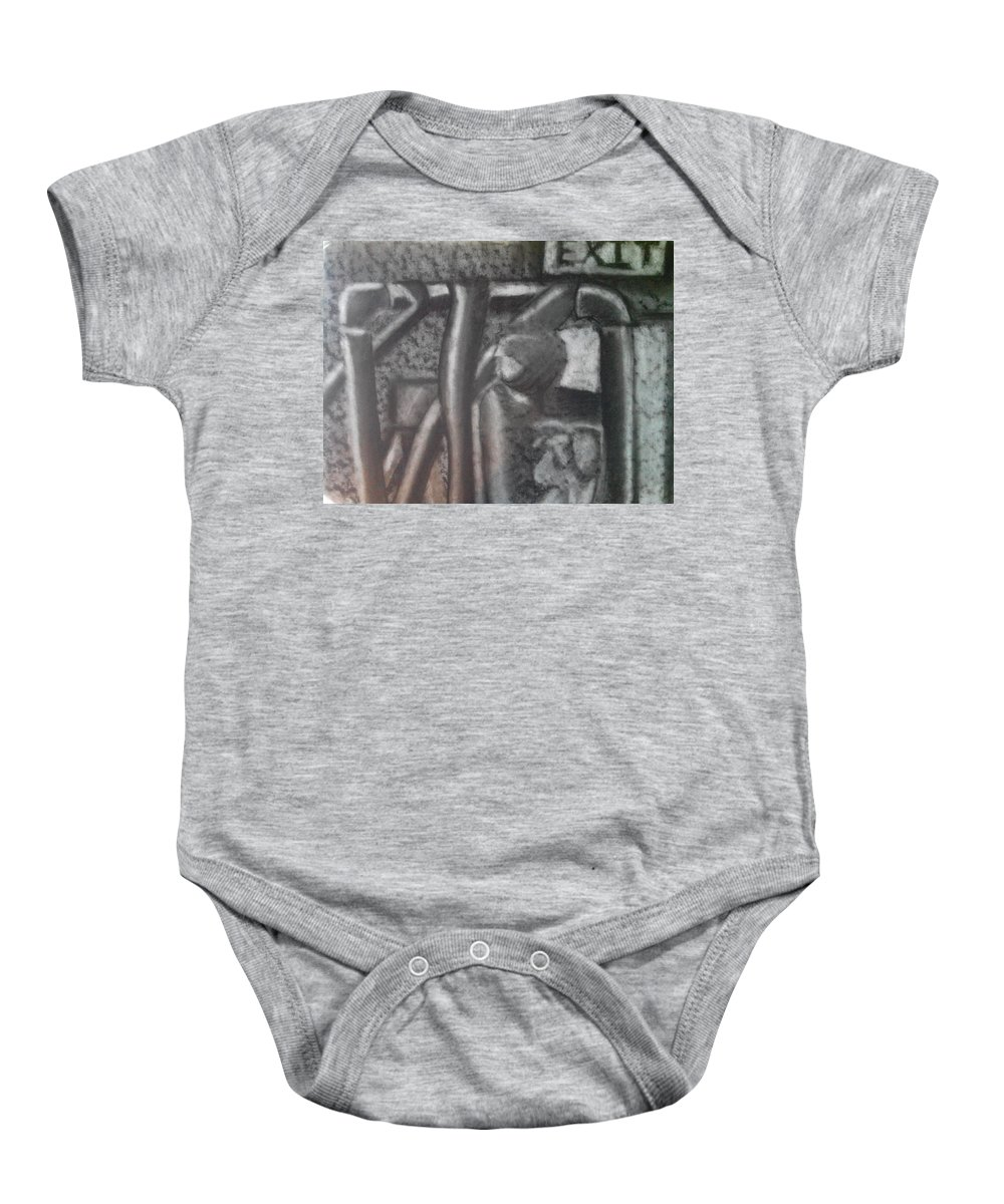 Charcoal Baby Onesie featuring the drawing Pipes by Adam Norman