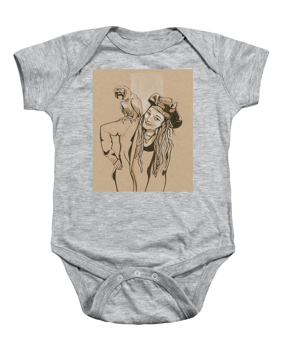 Parrot Baby Onesie featuring the drawing Pirate And Parrot by Katherine Nutt
