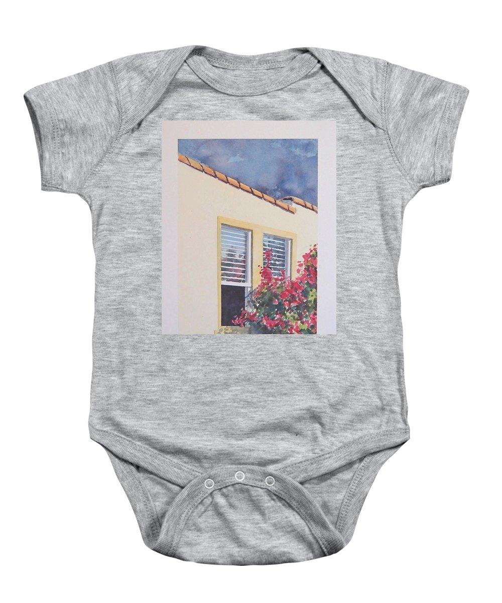 Cottage Baby Onesie featuring the painting Pismo Cottage by Philip Fleischer
