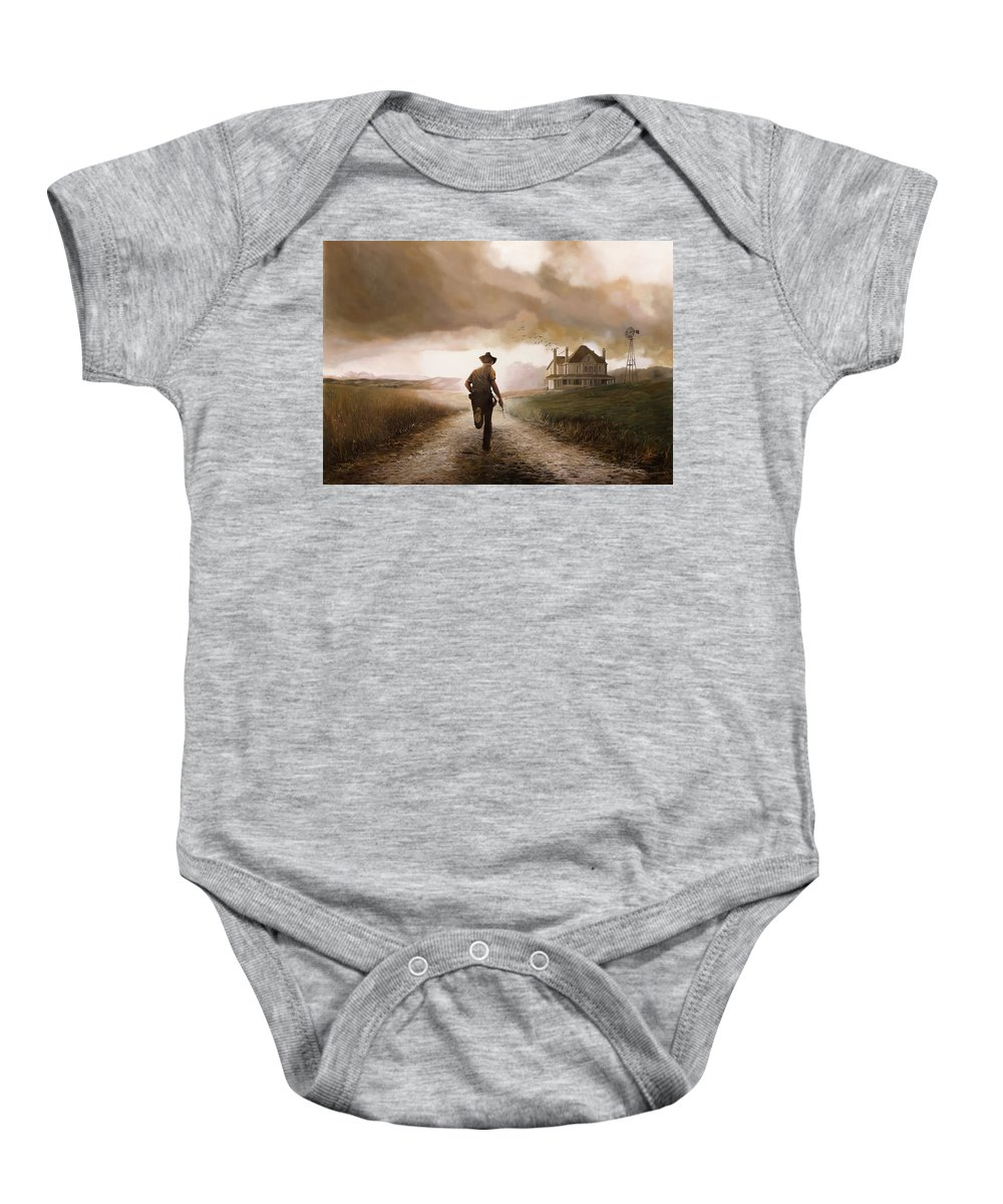 Cow Boy Baby Onesie featuring the painting Un Pistola by Guido Borelli