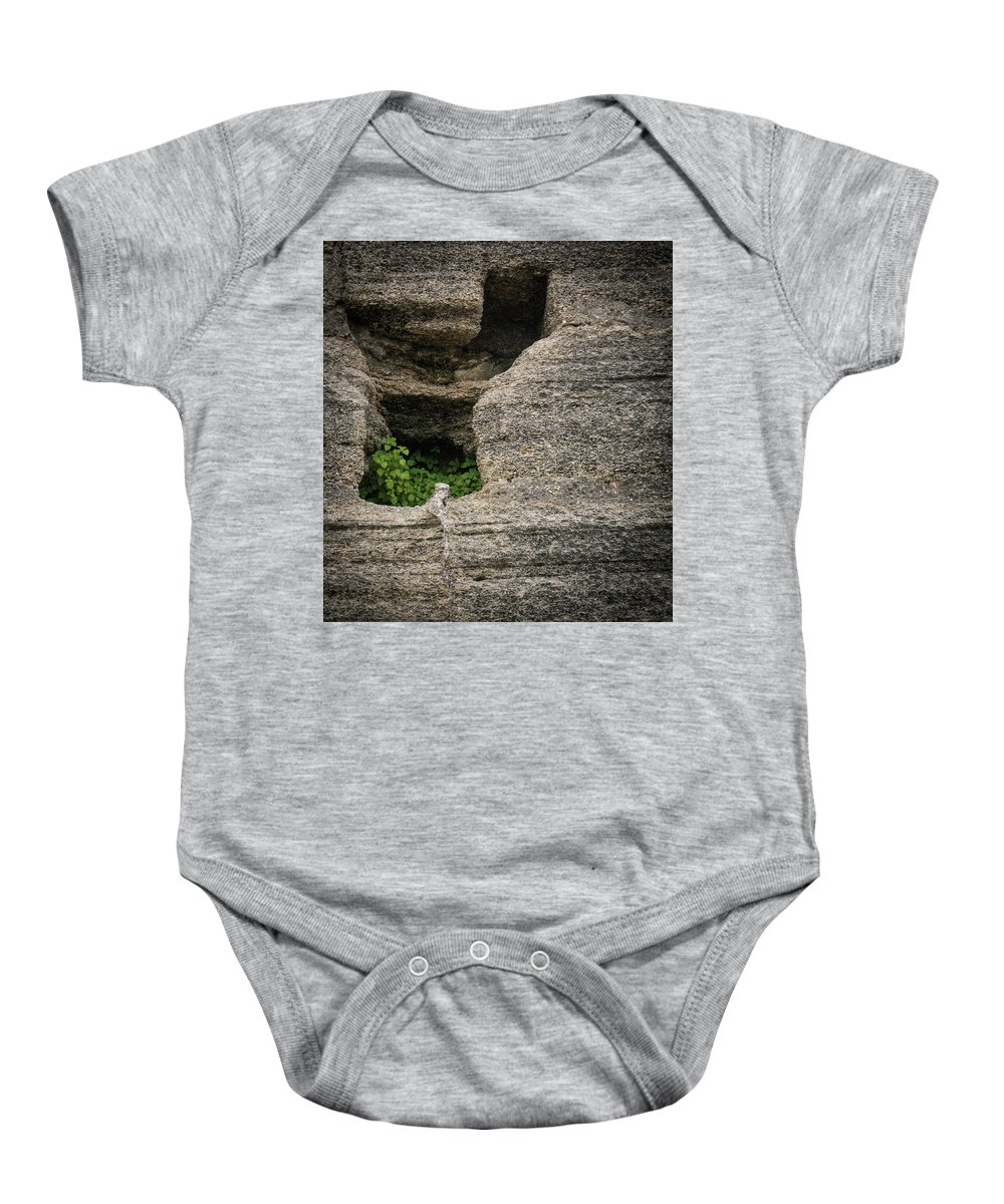 Castillo De San Marcos Baby Onesie featuring the photograph Plant Growing In Wall by Joann Waggoner