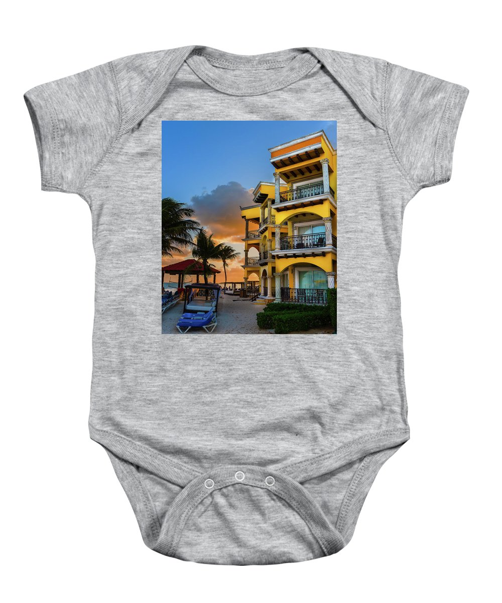 Mexico Baby Onesie featuring the photograph 'playacar' by Jim Bosch