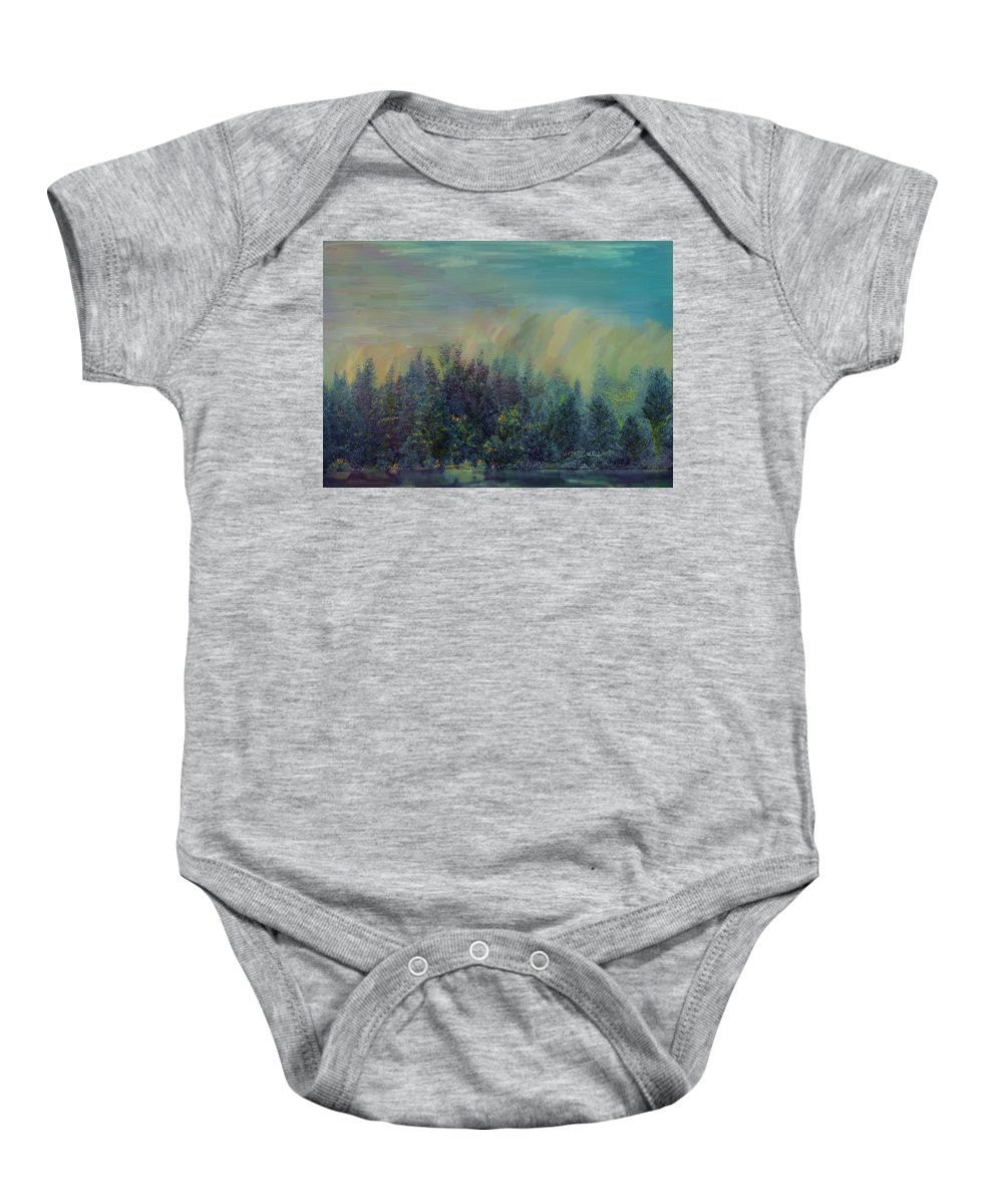 Playful Colorful Morning Baby Onesie featuring the painting Playful Colorful Morning by Angela Stanton