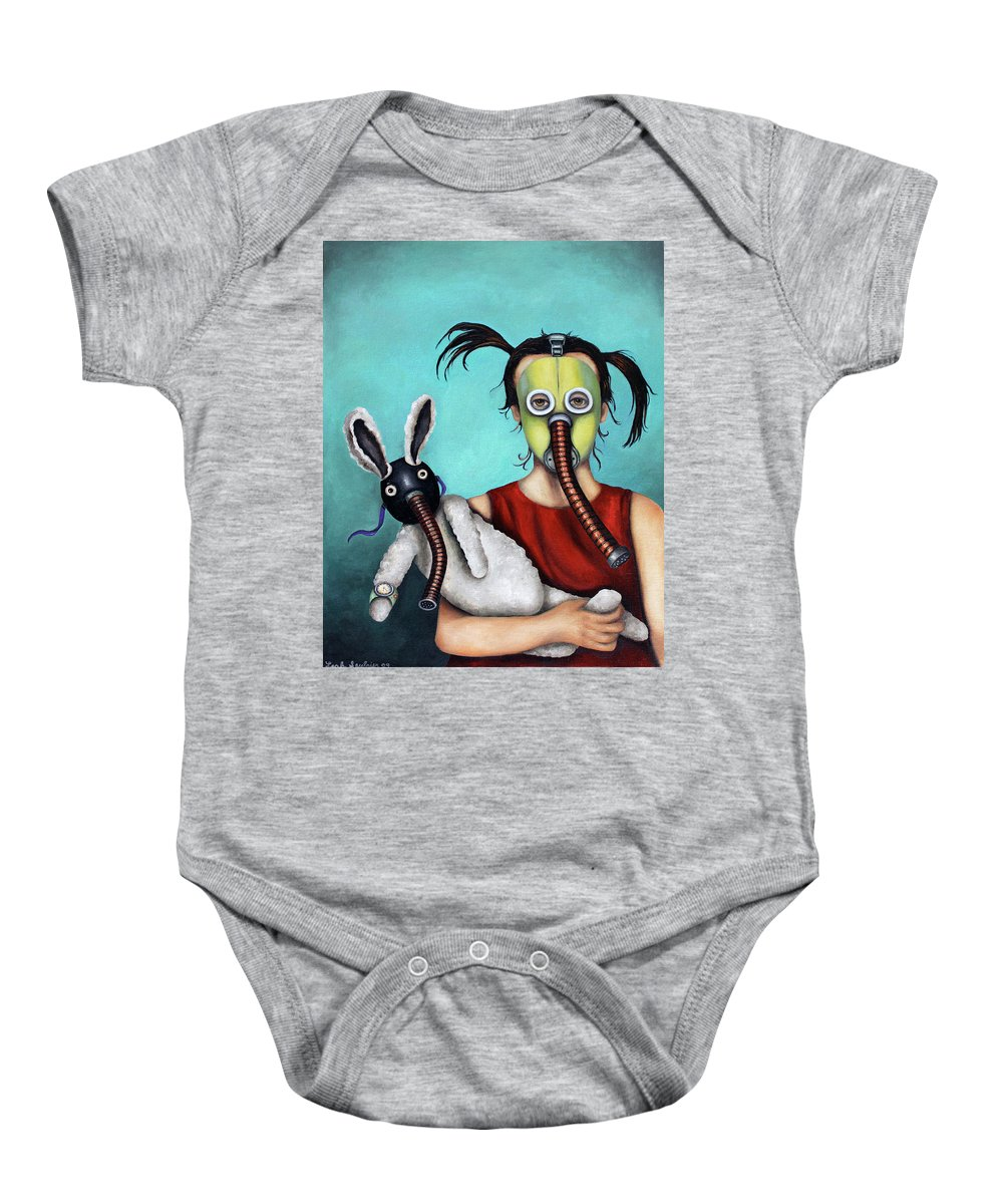 Mask Baby Onesie featuring the painting Playtime 2050 by Leah Saulnier The Painting Maniac
