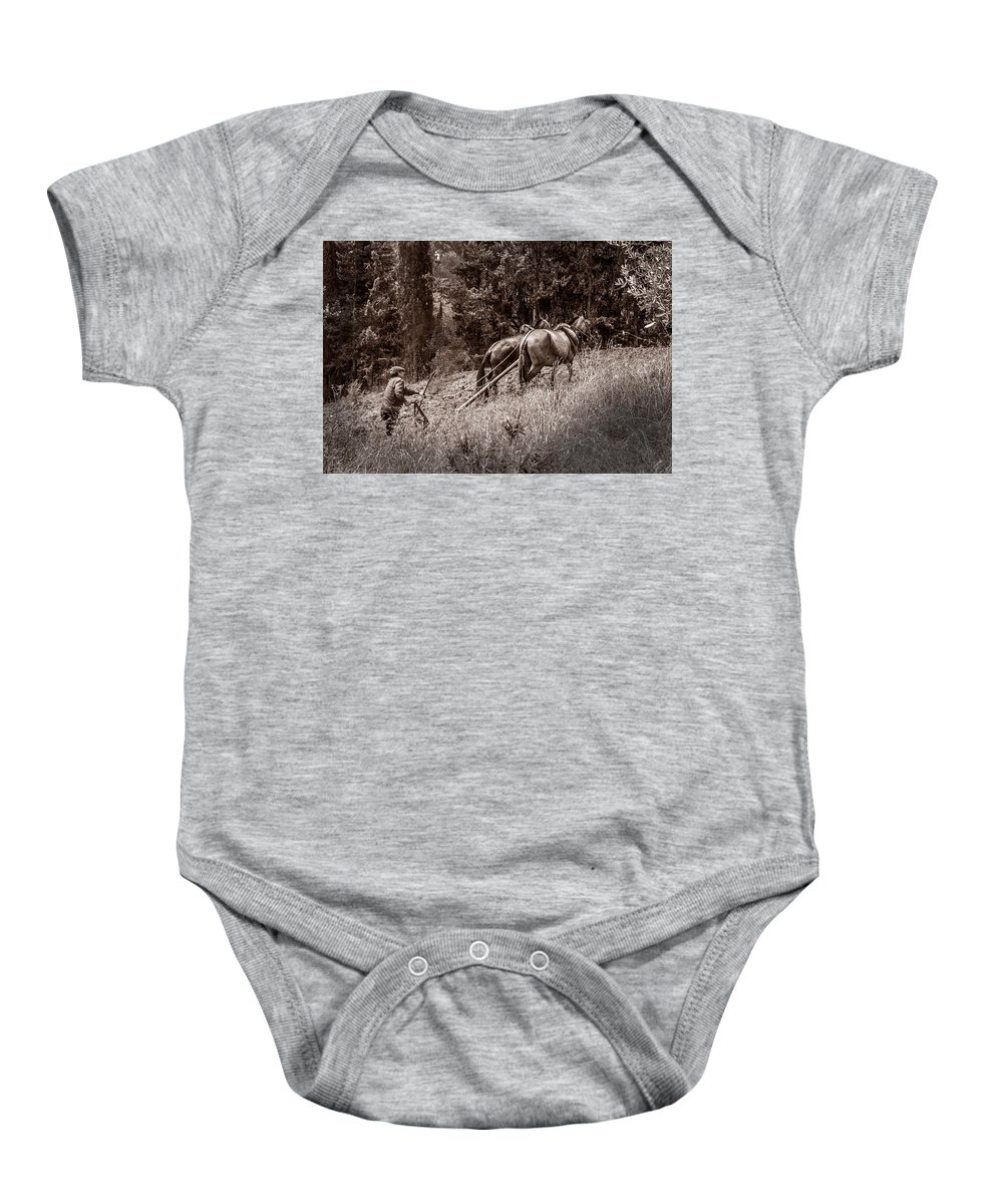 Agriculture Baby Onesie featuring the photograph Plowman And Team Of Horses by Peter Hayward Photographer