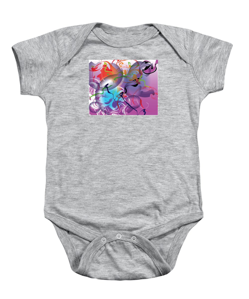 Abstract Baby Onesie featuring the painting Plum Dance by Deborah Rosier