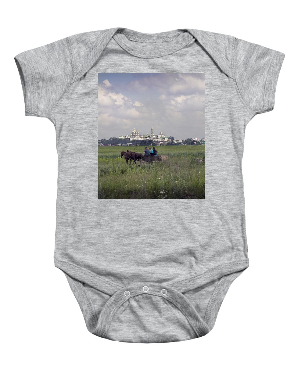 Ukraine Baby Onesie featuring the photograph Pochaiv Monastery Ukraine by Yuri Lev