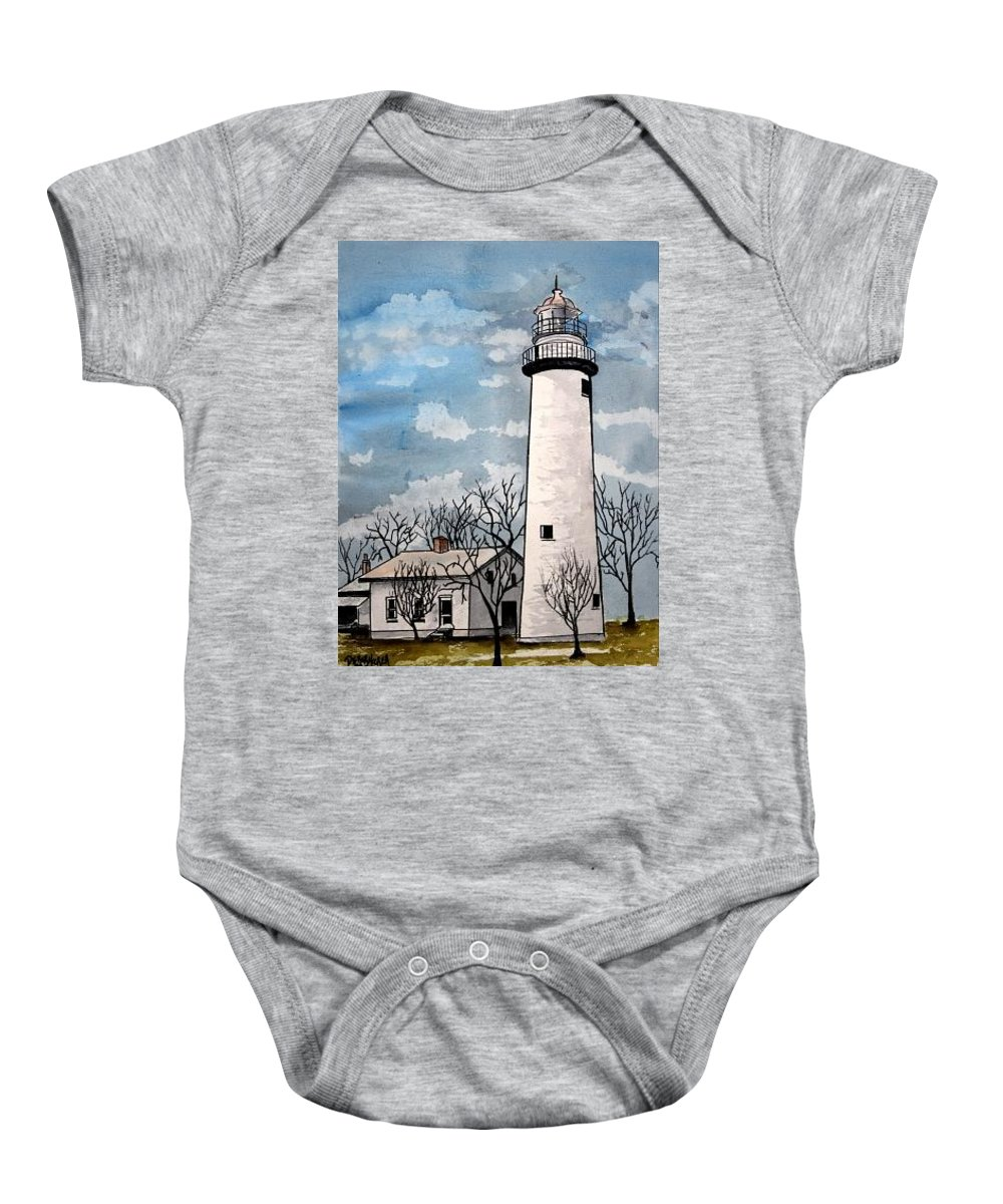 Lighthouse Painting Baby Onesie featuring the painting Point Aux Barques Lighthouse by Derek Mccrea