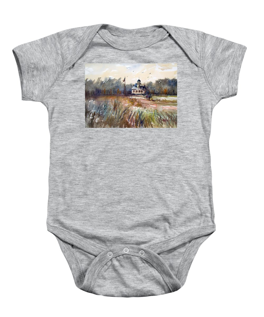Watercolor Baby Onesie featuring the painting Point Pinos Lighthouse by Ryan Radke