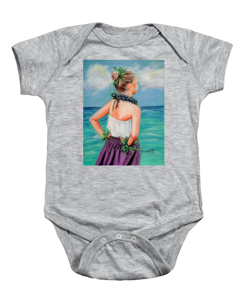 Hula Dance Baby Onesie featuring the painting Poipu Hula by Marionette Taboniar