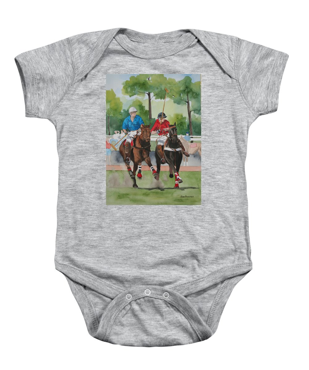 Polo Baby Onesie featuring the painting Polo In The Afternoon 2 by Jean Blackmer