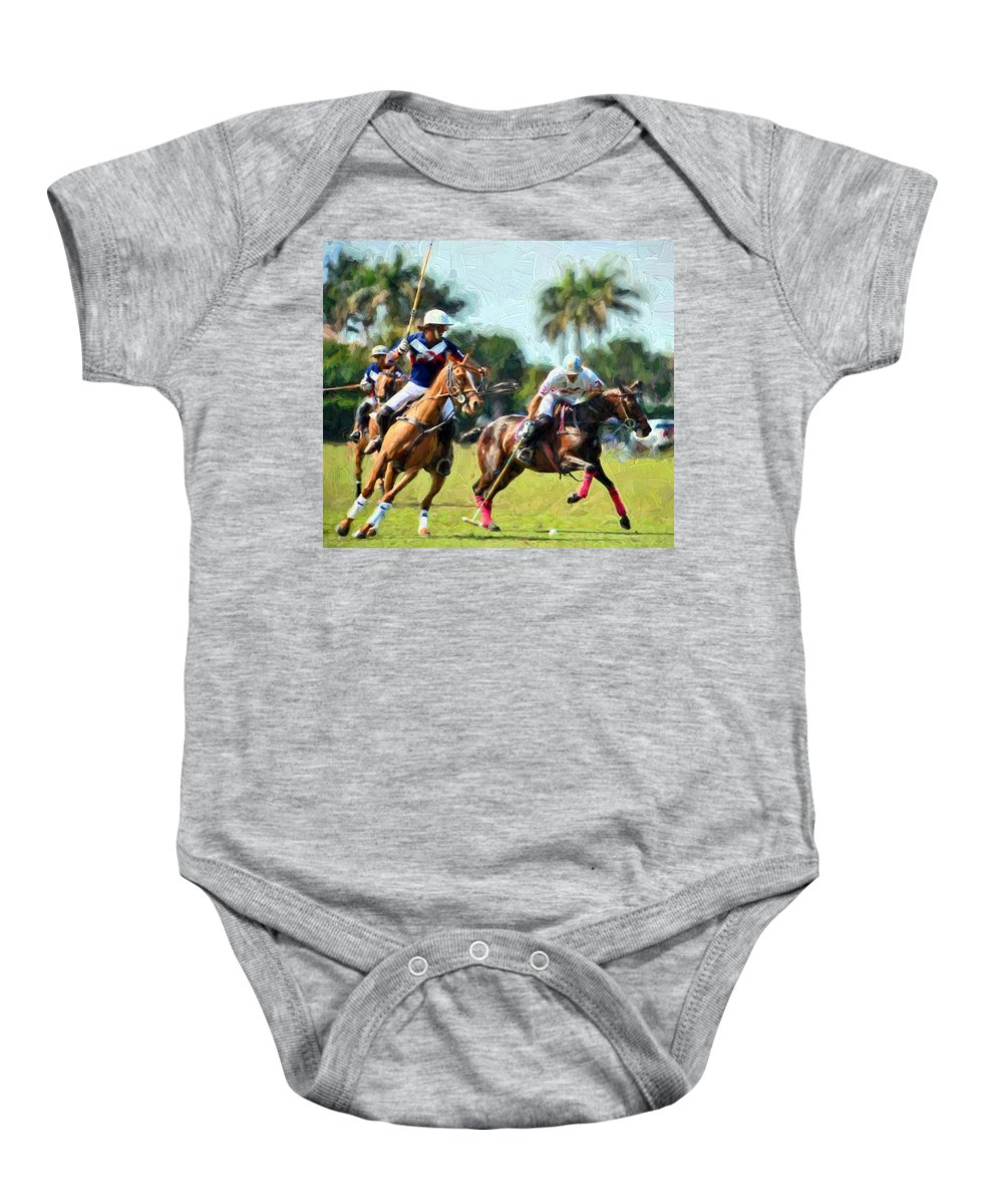 Polo Baby Onesie featuring the painting Polo Players And Ponies by Elaine Plesser