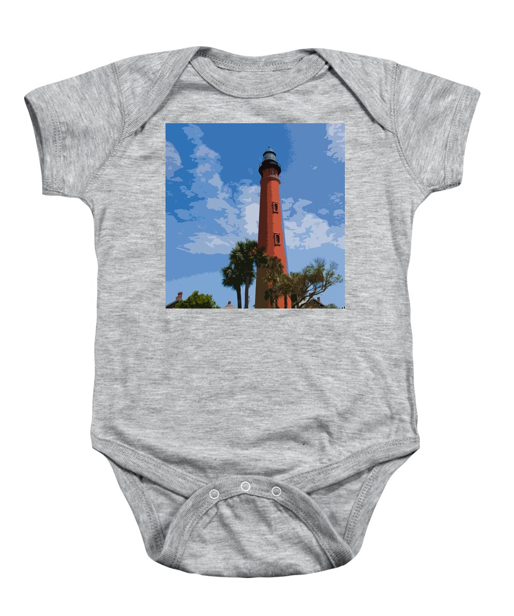Light Baby Onesie featuring the painting Ponce Inlet Light by Allan Hughes