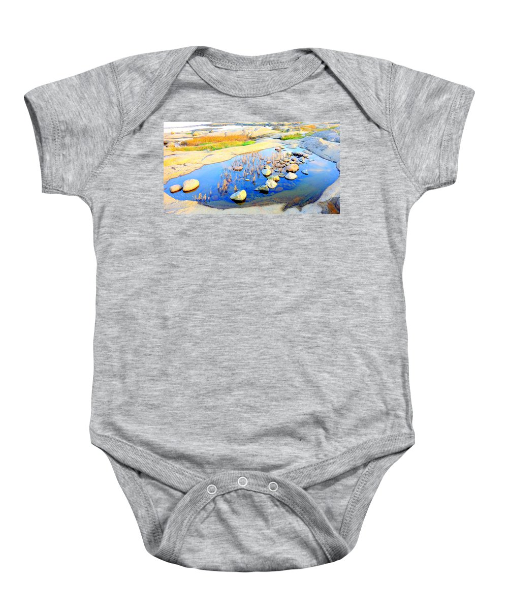 Rooster Baby Onesie featuring the photograph Do You Know The Secret Of The Pond by Hilde Widerberg