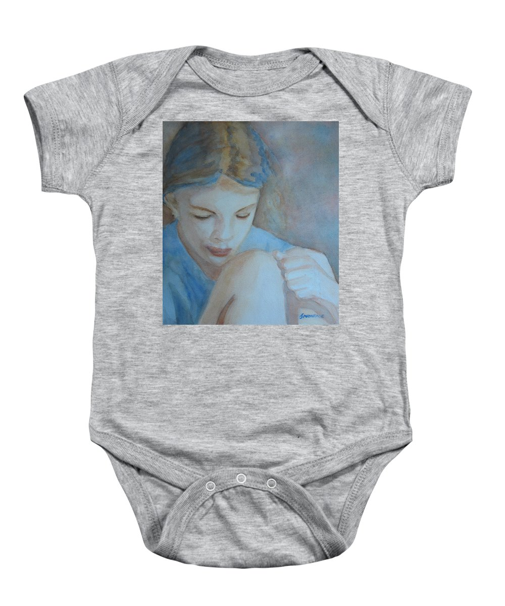Girl Baby Onesie featuring the painting Pondering by Jenny Armitage
