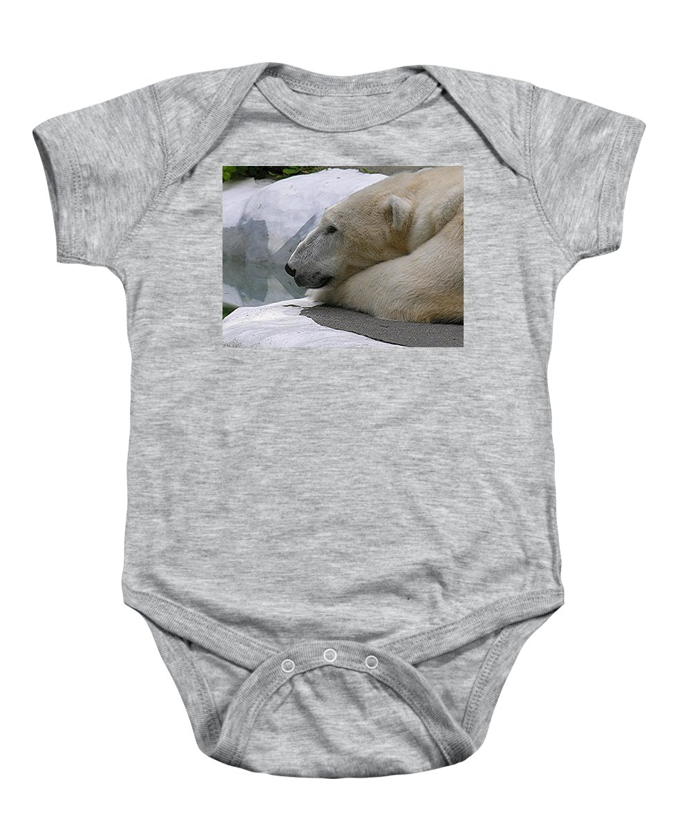 Pola Baby Onesie featuring the photograph Pondering Pola by Diane Greco-Lesser