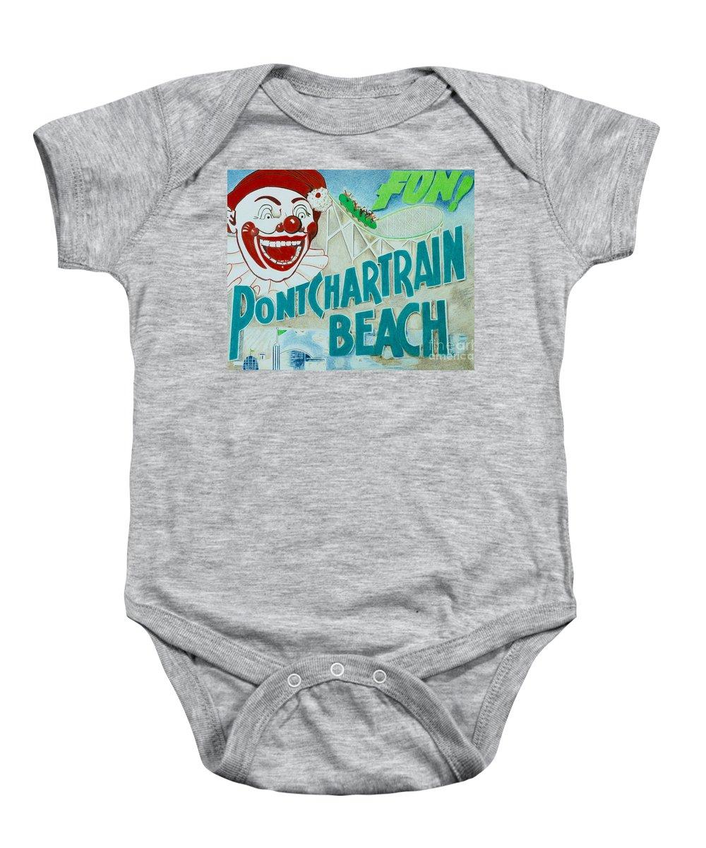 Pencil Baby Onesie featuring the drawing Pontchartrain Beach by Glenda Zuckerman
