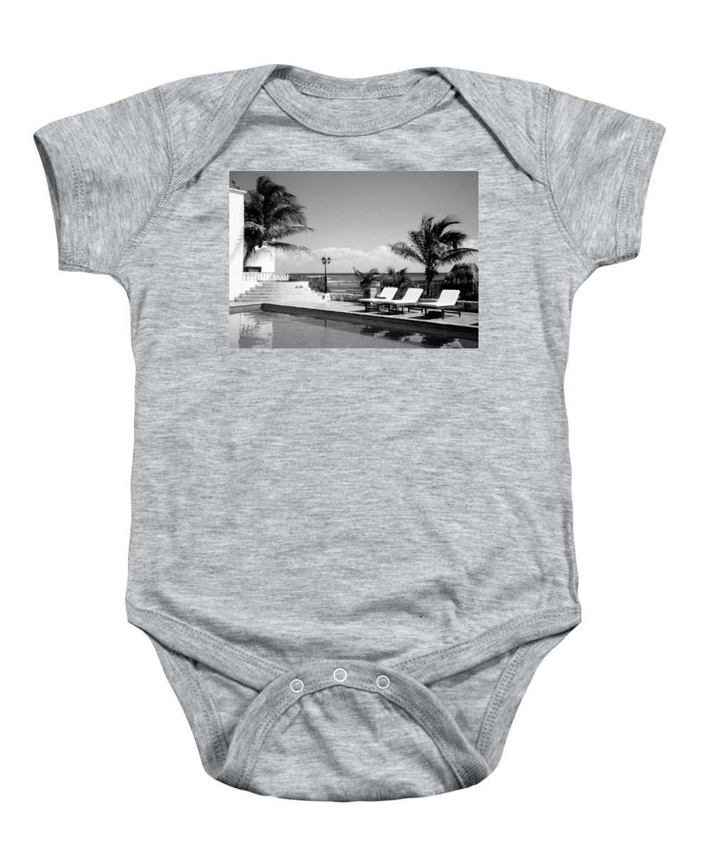 Swimming Pool Baby Onesie featuring the photograph Poolside B-w by Anita Burgermeister