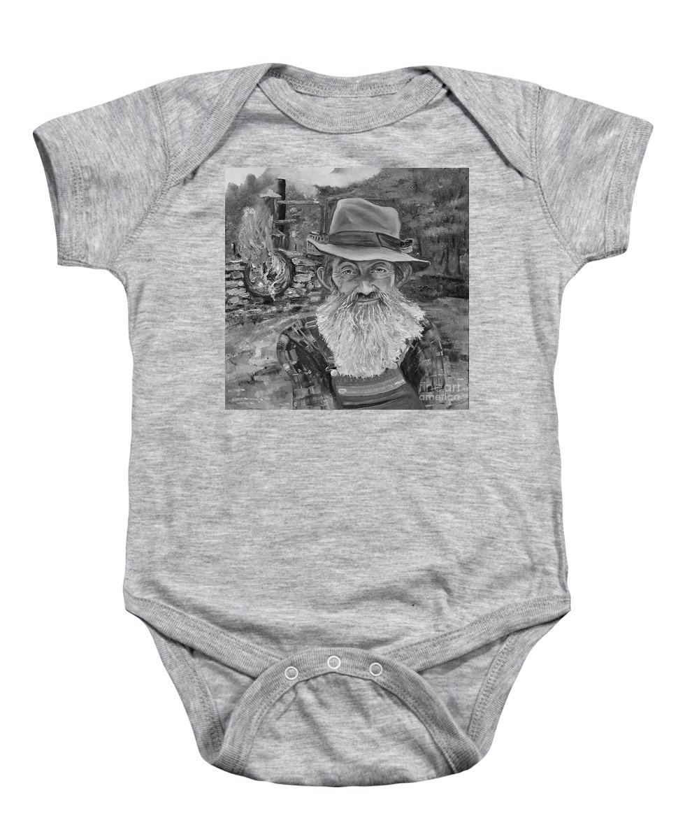 Popcorn Sutton Baby Onesie featuring the painting Popcorn Sutton - Black And White - Rocket Fuel by Jan Dappen