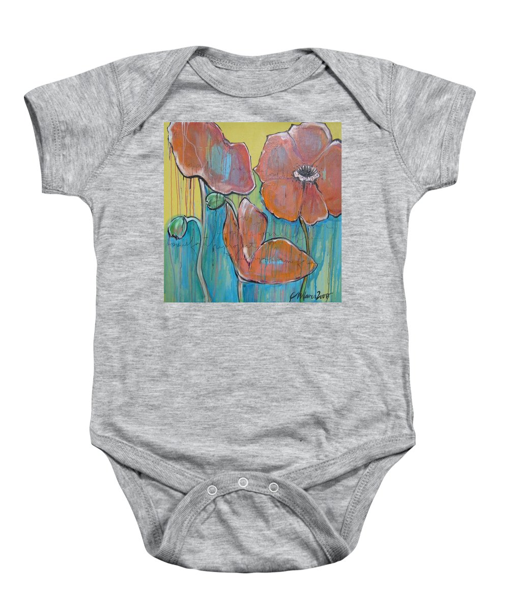 Pop Art Baby Onesie featuring the painting Poppies 3 by Laurie Maves ART