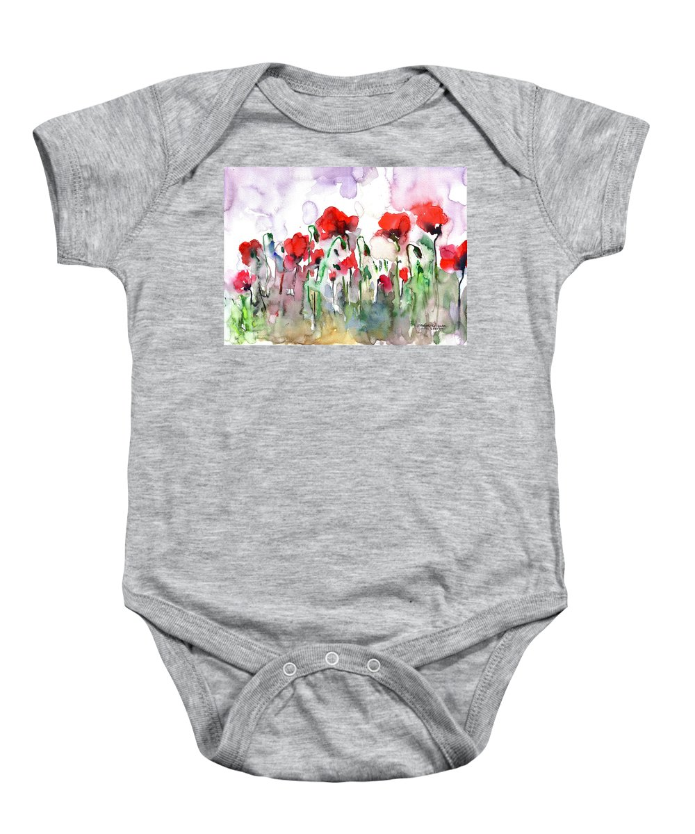 Poppies Baby Onesie featuring the painting Poppies by Faruk Koksal