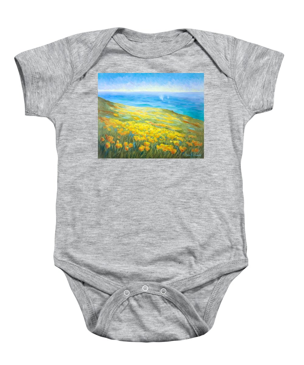 Poppy Painting Baby Onesie featuring the painting Poppies Greeting Whales by Karin Leonard
