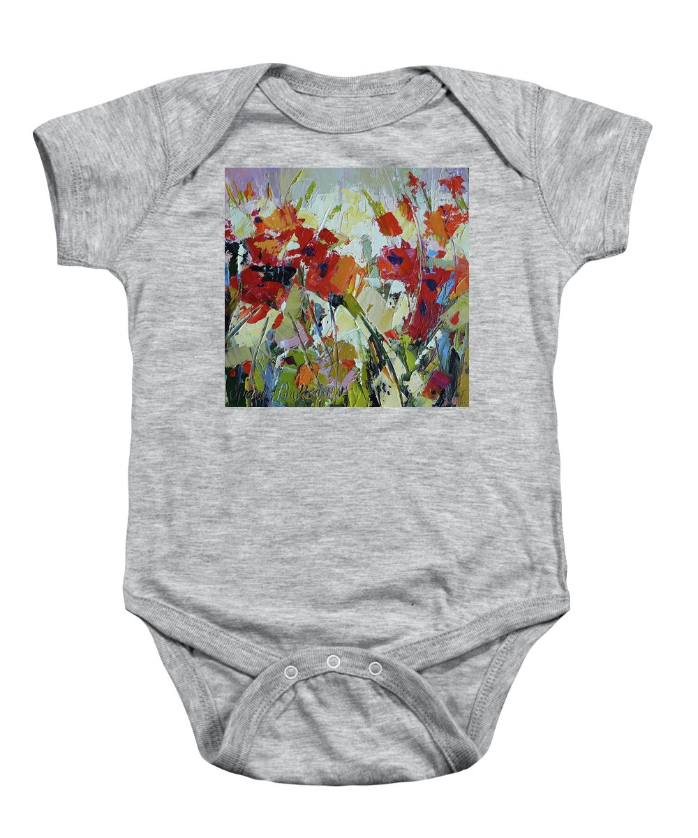 Poppies Baby Onesie featuring the painting Poppies by Yvonne Ankerman