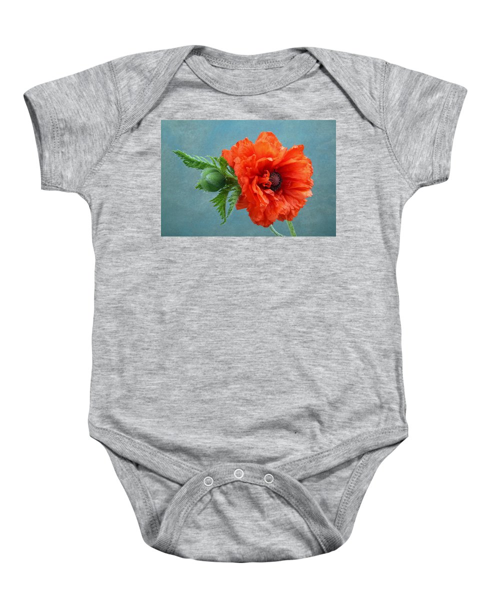 Poppy Baby Onesie featuring the photograph Poppy Flower by Manfred Lutzius