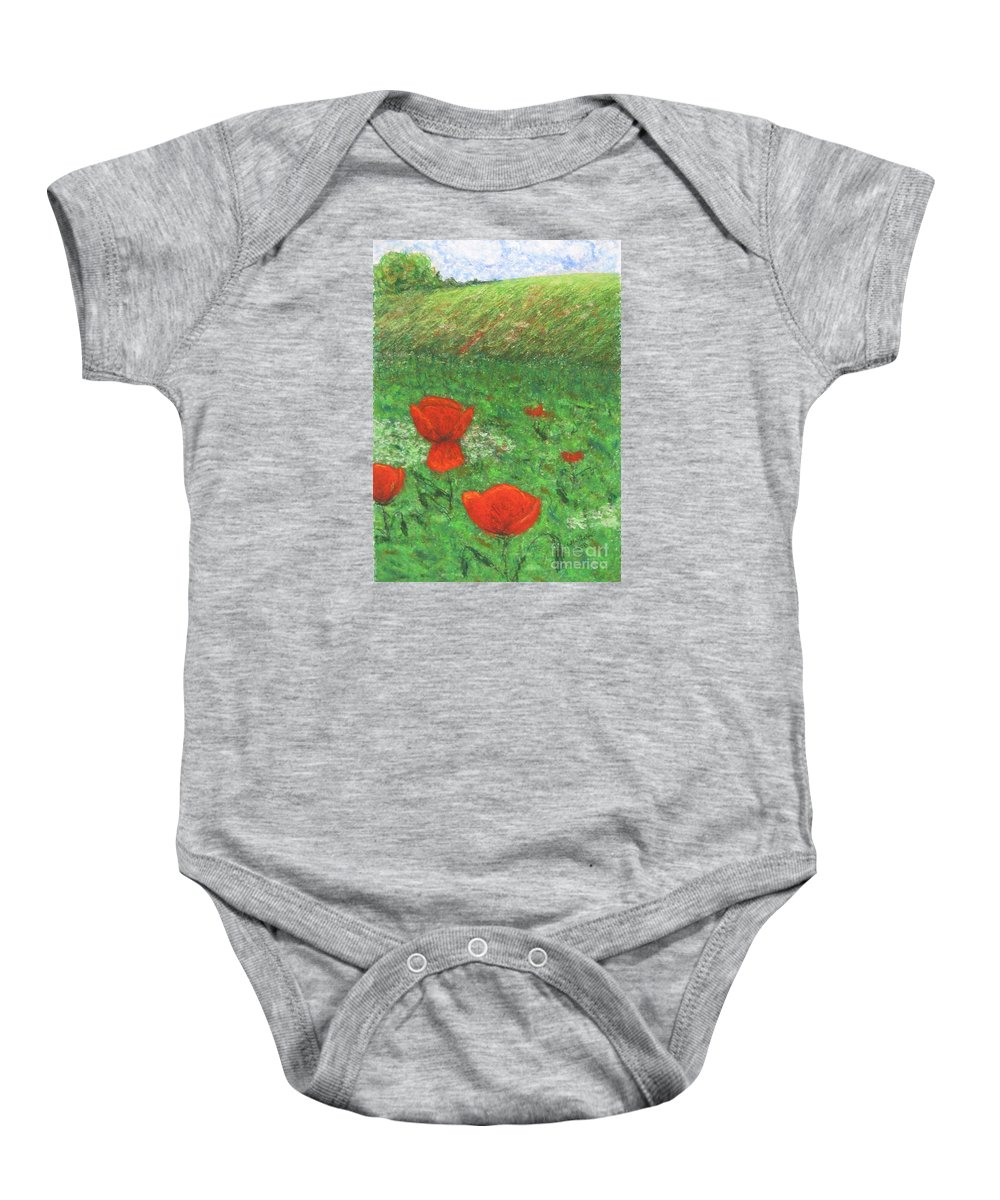 Nature Baby Onesie featuring the pastel Poppy In Country by Stella Velka