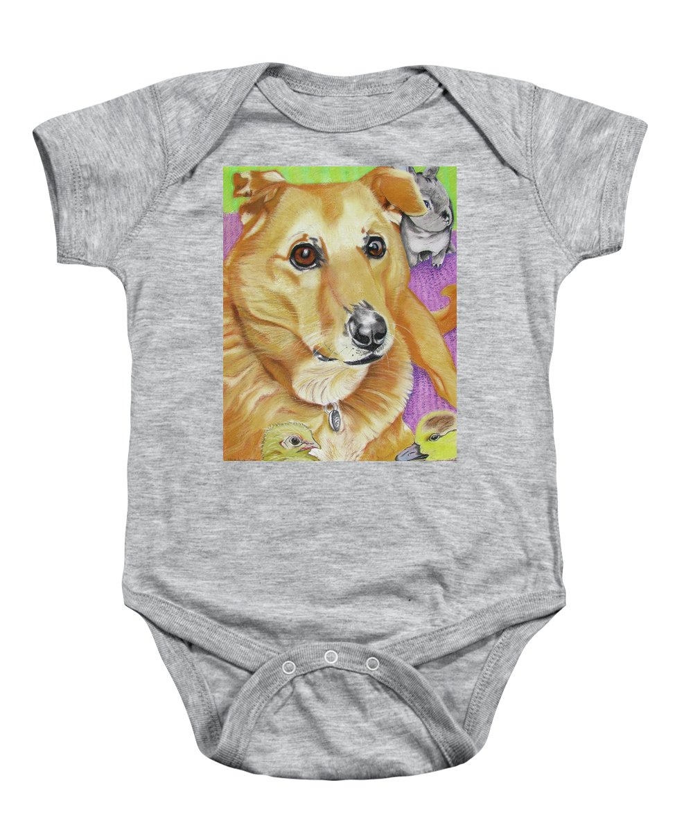Dog Painting Baby Onesie featuring the painting Poppy by Michelle Hayden-Marsan