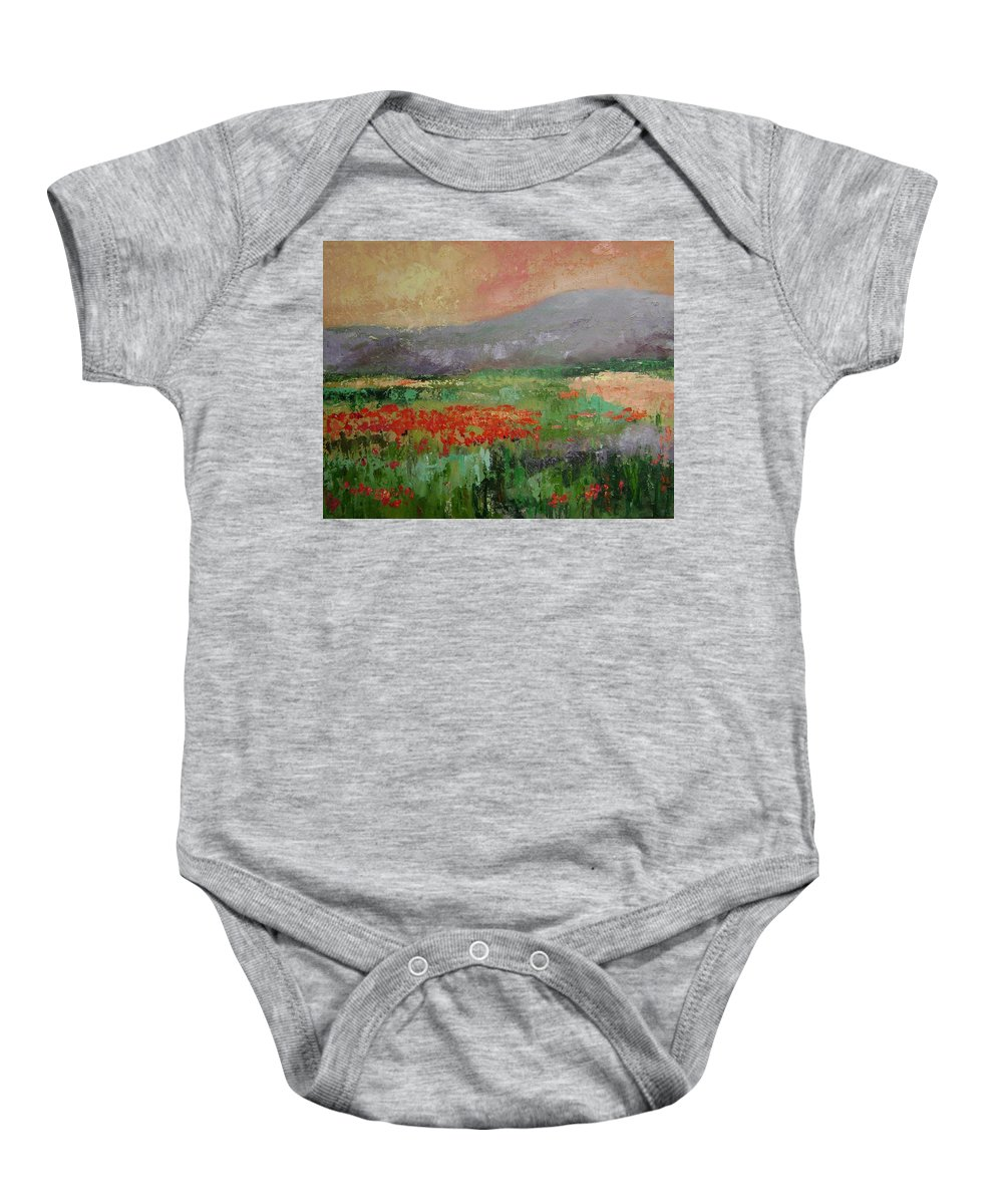 Poppies Baby Onesie featuring the painting Poppyfield by Ginger Concepcion