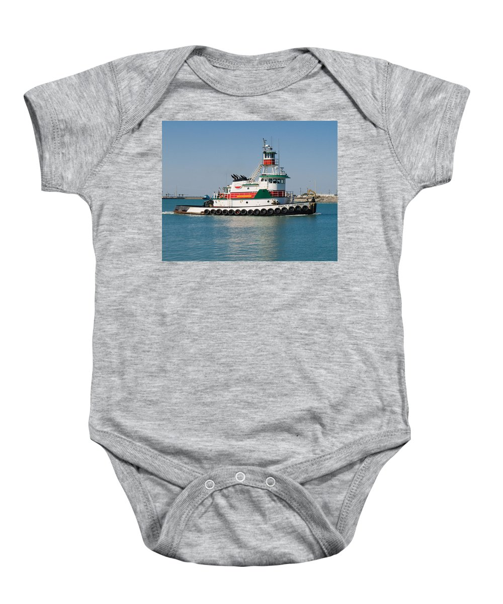 Emily; C; Cheramie; Tug; Tugboat; Bow; Offshore; 3600; Hp; Class; Work; Working; Workboat; Dredge; D Baby Onesie featuring the photograph Popular Sight At Port Canaveral On Florida by Allan Hughes