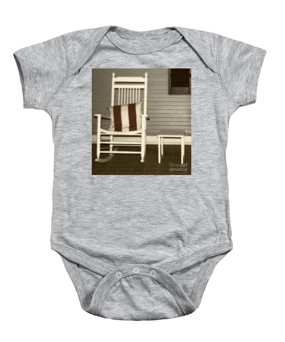 Rocking Chair Baby Onesie featuring the photograph Porch Rocker by Debbi Granruth