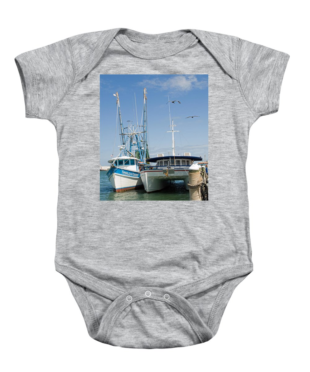Florida; East; Coast; Atlantic; Ocean; Sea; Port; Canaberal; Harbor; Harbour; Boat; Shrimp; Party; C Baby Onesie featuring the photograph Port Canaveral On The East Coast Of Florida by Allan Hughes