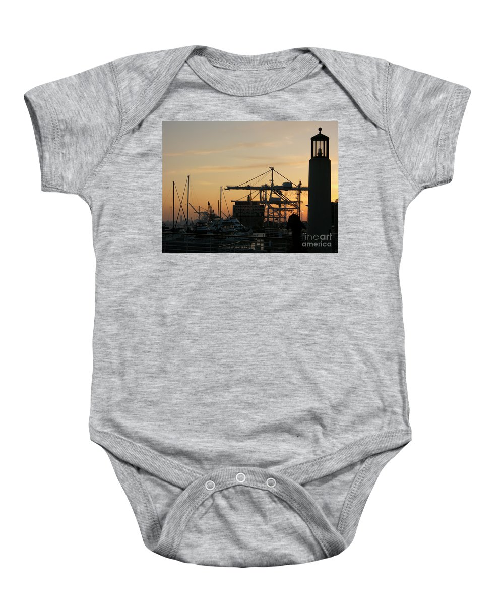 Oakland Baby Onesie featuring the photograph Port Of Oakland Sunset by Carol Groenen